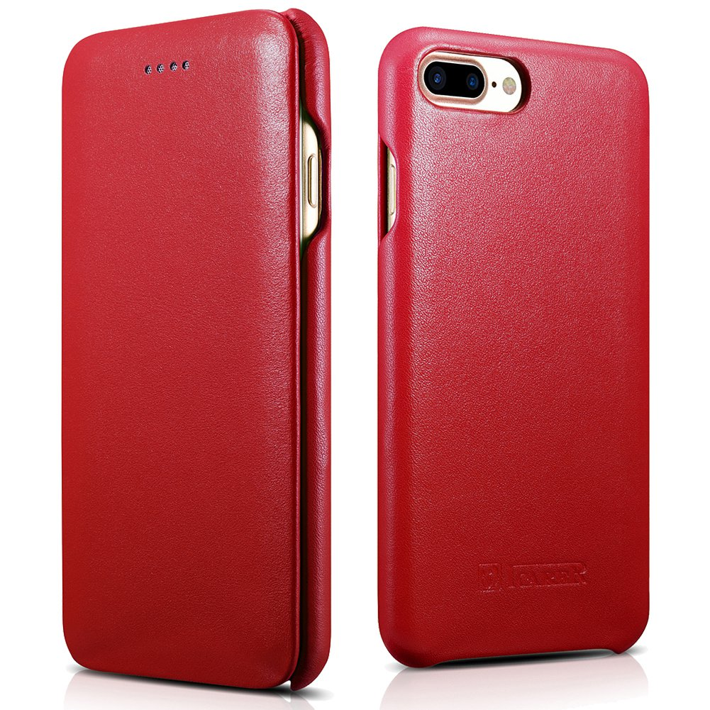 ICARER iPhone 7 Plus Genuine Leather Case, Luxury Curved Edge Full Body Protection Flip Case (Red)