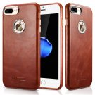 iPhone 8/7 Plus Case Cover, Icarer Vintage Series Real Leather Ultra-thin Back Cover Case (Brown)