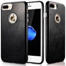iPhone 7 Plus Case Cover, Icarer Vintage Series Real Leather Ultra-thin Back Cover Case (Black)