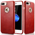 iPhone 8 / 7 Plus Case Cover, Icarer Vintage Series Real Leather Ultra-thin Back Cover Case (Red)
