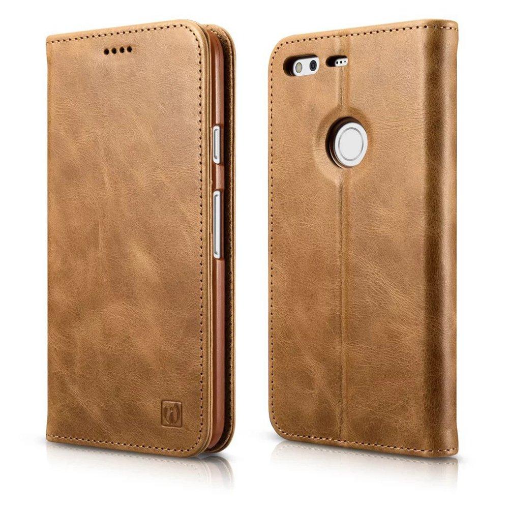 Google Pixel Leather Case, Icarer Genuine Leather Flip Folio Wallet Case Brown