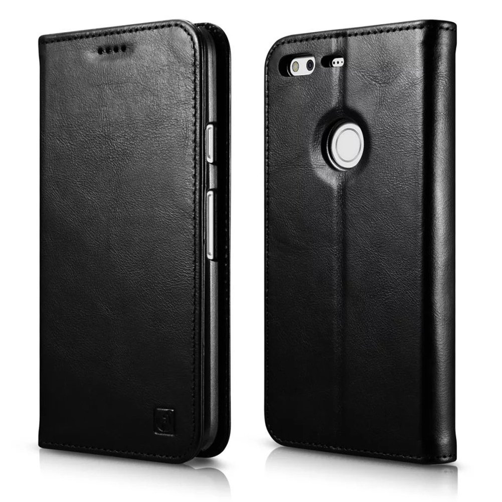Google Pixel Leather Case, Icarer Genuine Leather Flip Folio Wallet Case Black