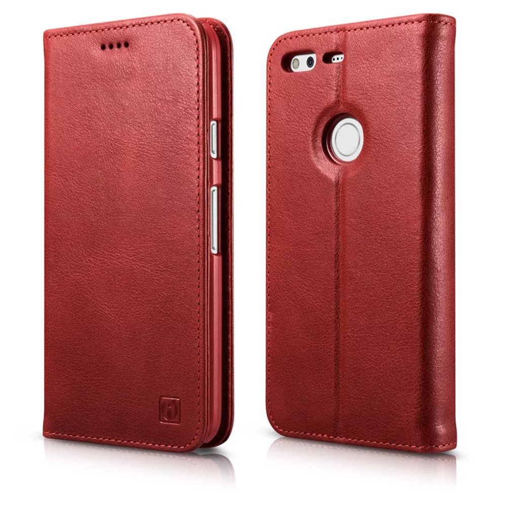 Google Pixel XL Leather Case, Icarer Genuine Leather Flip Folio Wallet Case Red