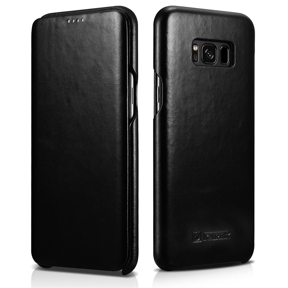 "icarercase Samsung Galaxy S8 Plus 6.2"" Genuine Leather Folio Flip Vintage Curved Edge Case (Black)"