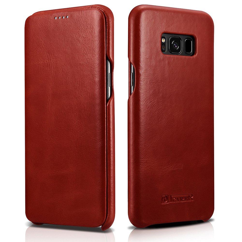 "icarercase Samsung Galaxy S8 5.8"" Genuine Leather Folio Flip Case, Vintage Curved Edge Case (Red)"