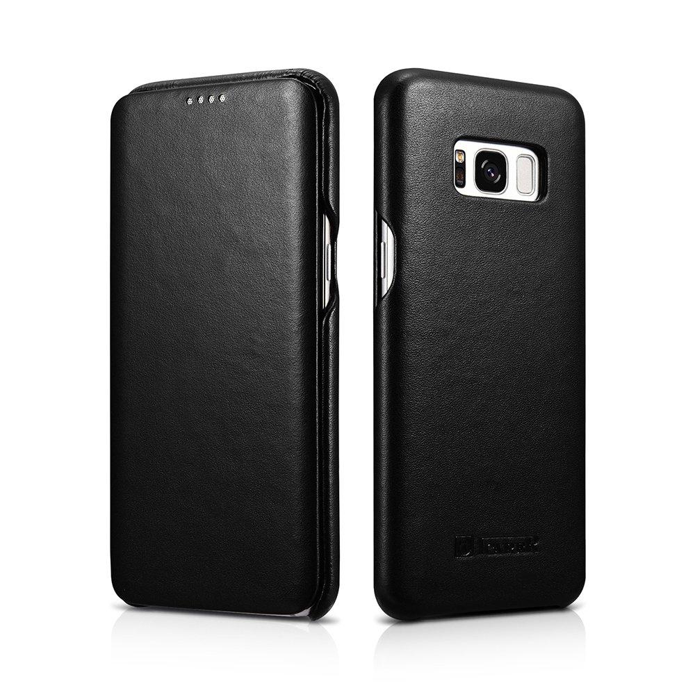 Samsung Galaxy S8+ Leather Case, icarer Luxury Genuine Leather Full Body Folio Flip Case Black