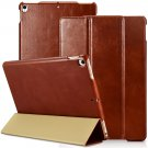 iPad Pro 10.5 2017 Genuine Leather Case, icarer Vintage Smart Wake/ Sleep Kickstand Folio Flip Case