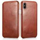 iPhone X Genuine Leather Case, icarer Vintage Curved Edge Full Body Folio Flip Case (Brown)