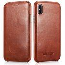 iPhone X Genuine Leather Case, icarer Vintage Curved Edge Full Body Folio Flip Case (Brown)