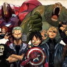 One Piece Characters Avengers Anime Art 24x18 Print Poster