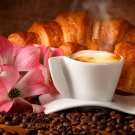 Coffe Croissant French Food Macro 24x18 Print Poster