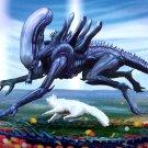 Alien Cat Love Sci Fi Cool Art 24x18 Print Poster