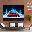 Volkswagen Beetle Blue Fountain Car Huge Giant Print Poster