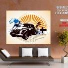 Volkswagen Beetle Surfing Cool Art Huge Giant Print Poster