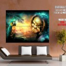 Pirate Parrot Magic Skull Sunset Art Huge Giant Print Poster