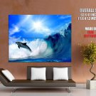 Dolphin Jump Sea Wave Nature Animals Huge Giant Print Poster