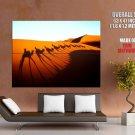 Sahara Desert Camels Shadows Landscape Huge Giant Print Poster