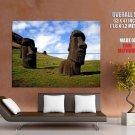 Statues Easter Island Nature Landscape Huge Giant Print Poster