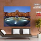 Louvre Paris France Fountain Twilight Huge Giant Print Poster