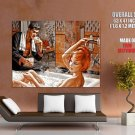 Redhead Girl Bathing Vintage Painting Retro Art Huge Giant Print Poster