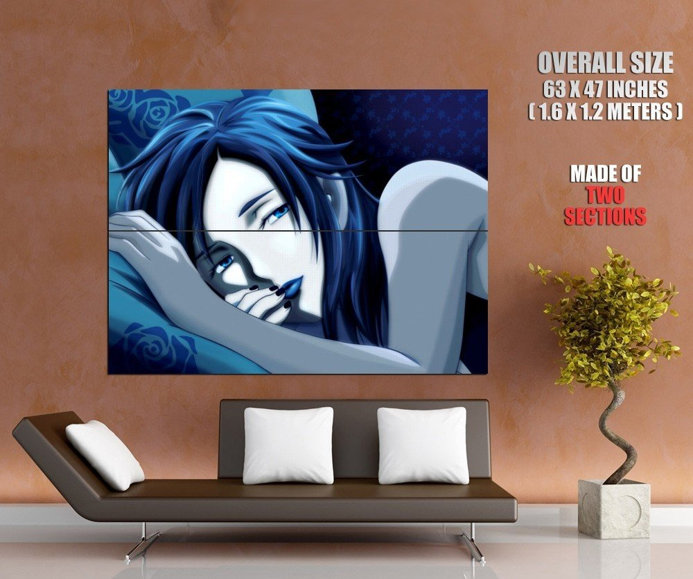 Drowsy Girl Blue Lips Long Hair Anime Art Huge Giant Poster