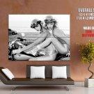 Hot Retro Girls Bw Classic Bike Huge Giant Print Poster