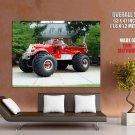 Firefighter Monster Truck Car Bigfoot Huge Giant Print Poster