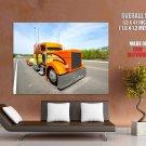 Shiny Orange Truck Road Car Huge Giant Print Poster