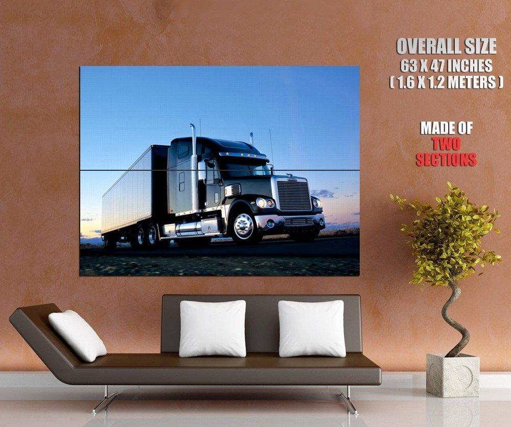 Freightliner Black Truck Trailer Huge Giant Print Poster