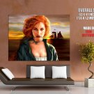 Hot Redhead Girl Sea Sunset Art Huge Giant Print Poster