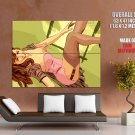 Smiling Babe Sexy Stocking Art Huge Giant Print Poster