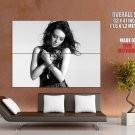 Cute Brunette Babe Eyes Closed Bw Huge Giant Print Poster