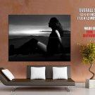 Hot Girl Sunset Silhouette Bw Huge Giant Print Poster