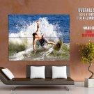 Surfing Ocean Water Splashes Hot Sport Huge Giant Print Poster