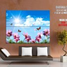 Flowers Butterflies Blue Sky Nature Huge Giant Print Poster