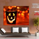 Halloween Glass Jack O Lantern Lights Huge Giant Print Poster