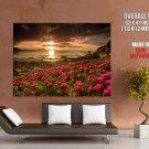 Pink Flowers Sunset Sea Landscape Huge Giant Print Poster