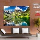 Highland Lake Mountains Landscape Huge Giant Print Poster