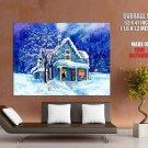 Snow House Winter Art Christmas Huge Giant Print Poster