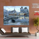 Christmas Eve Snow Winter Church Huge Giant Print Poster