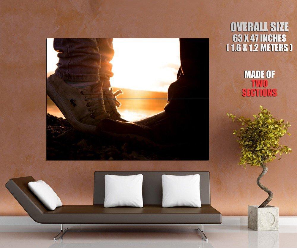 Kiss Love Girl Tiptoe Sunset Mood Huge Giant Print Poster
