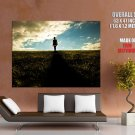 Girl Shadow Grass Field Sky Mood Huge Giant Print Poster