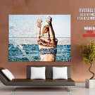 Hot Girl Bikini Sea Water Splashes Mood Huge Giant Print Poster