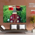 Guitar On Grass Photo Music Huge Giant Print Poster