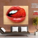 Mouth Lips Strawberry Tongue Macro Huge Giant Print Poster