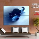 Cute Kitty Holding Fish Cat Art Huge Giant Print Poster