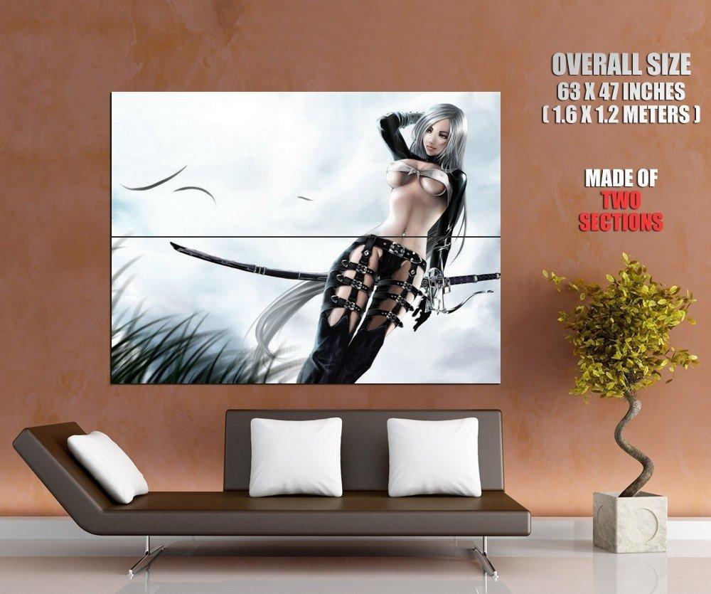 Hot Warrior Girl Sexy Body Anime Huge Giant Print Poster