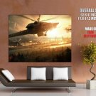 Sunset Military Helicopter Aircraft HUGE GIANT Print Poster