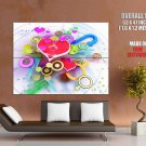 Love Hearts Colors Abstraction HUGE GIANT Print Poster