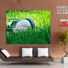 Headphones Green Grass Music HUGE GIANT Print Poster